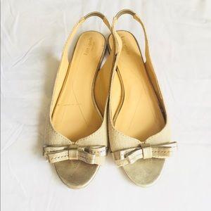 Kate Spade Sling Back Peep Toe Bow Silver Metallic